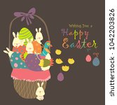 easter basket with eggs rabbits ... | Shutterstock .eps vector #1042203826