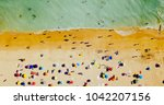 aerial drone view of people on...   Shutterstock . vector #1042207156