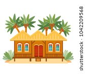 beach houses collection.... | Shutterstock .eps vector #1042209568