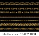 set of lines of gold pattern on ... | Shutterstock .eps vector #1042211080