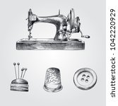 hand drawn sewing sketches set. ... | Shutterstock .eps vector #1042220929