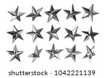 vector punk star studs. set of... | Shutterstock .eps vector #1042221139