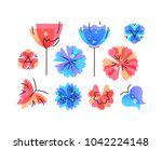 vector set of isolated spring... | Shutterstock .eps vector #1042224148