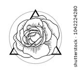 vector tattoo flower rose... | Shutterstock .eps vector #1042224280