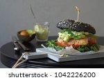 Black Burger With  Chicken ...