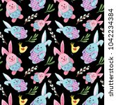 watercolor easter pattern with... | Shutterstock . vector #1042234384