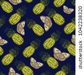 abstract pineapples and... | Shutterstock . vector #1042238320