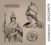 athena pallas. ancient greek...   Shutterstock .eps vector #1042239679