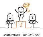 cartoon winner man on podium... | Shutterstock .eps vector #1042243720