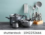 metal cooking utensils on table | Shutterstock . vector #1042252666