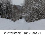 a snow covered country road in... | Shutterstock . vector #1042256524