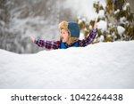 a little boy is standing in a... | Shutterstock . vector #1042264438
