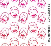 pattern faces smiling happy... | Shutterstock .eps vector #1042265563