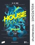 house party flyer. dj music... | Shutterstock .eps vector #1042267054