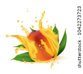 juice splash of mango  orange ... | Shutterstock .eps vector #1042273723