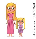 mother holding hand with her... | Shutterstock .eps vector #1042276528