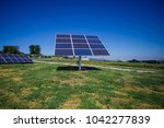 the solar panel is on the... | Shutterstock . vector #1042277839