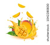 juice milk yogurt mango cubes... | Shutterstock .eps vector #1042280830