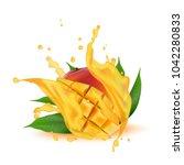 juice milk yogurt mango cubes... | Shutterstock .eps vector #1042280833