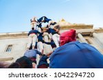traditional human towers... | Shutterstock . vector #1042294720