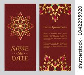 bright wedding invitation with... | Shutterstock .eps vector #1042295920