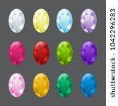 set of oval gemstones in... | Shutterstock .eps vector #1042296283