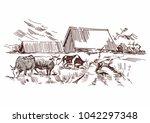 pencil village drawing  | Shutterstock .eps vector #1042297348