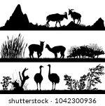 set of illustration with wild...   Shutterstock . vector #1042300936