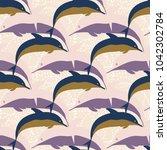 seamless texture with a flock... | Shutterstock . vector #1042302784