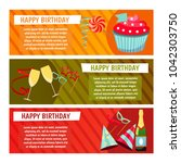 birthday party. banners for... | Shutterstock .eps vector #1042303750