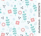 floral flower seamless pattern... | Shutterstock .eps vector #1042305673