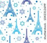 vector blue white eifel tower...   Shutterstock .eps vector #1042312699