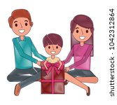 family parents and son with big ... | Shutterstock .eps vector #1042312864