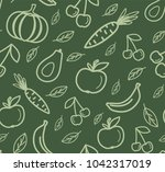 seamless pattern with organic... | Shutterstock .eps vector #1042317019