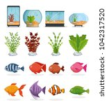 set beautiful aquariums icons | Shutterstock .eps vector #1042317520