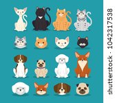 dogs and cats pets characters | Shutterstock .eps vector #1042317538
