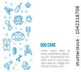 dog grooming line art banner... | Shutterstock .eps vector #1042318708