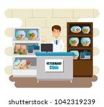 veterinary doctor with mascot...   Shutterstock .eps vector #1042319239