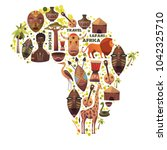 map of africa with vector icons.... | Shutterstock .eps vector #1042325710