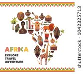 map of africa with vector icons.... | Shutterstock .eps vector #1042325713