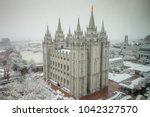 the salt lake temple in temple...   Shutterstock . vector #1042327570
