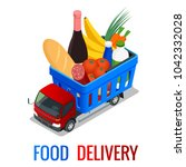 delivery of fresh organic... | Shutterstock .eps vector #1042332028