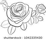 three buds of roses painted... | Shutterstock .eps vector #1042335430