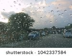 waterdrop on the glass of car...   Shutterstock . vector #1042337584