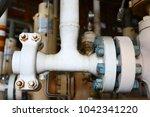 wellhead on the remote platform ... | Shutterstock . vector #1042341220