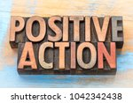 positive action   word abstract ... | Shutterstock . vector #1042342438