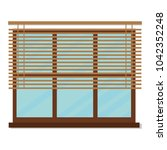 window apartment with blind | Shutterstock .eps vector #1042352248