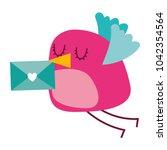 sweet bird with envelope...   Shutterstock .eps vector #1042354564