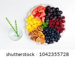 fruits and berries plate... | Shutterstock . vector #1042355728