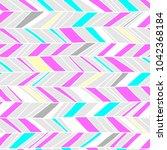 memphis chevron seamless boho... | Shutterstock .eps vector #1042368184
